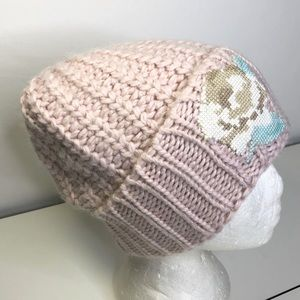 Free People Everything Rosy Floral Appliqué Beanie